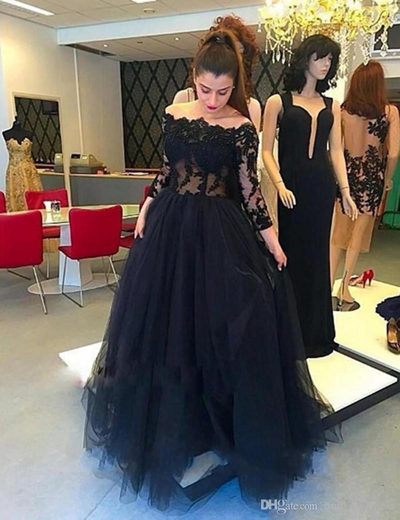 2019 Nuovo abito da ballo lungo nero affascinante con maniche lunghe con spalle scoperte in tulle e maniche lunghe Lunghezza del pavimento Abiti personalizzati