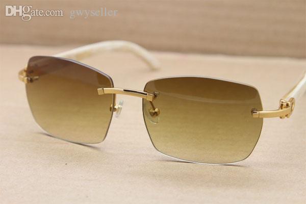 الجملة-الساخن بدون شفة T8100905 النظارات الشمسية الأبيض الجاموس حقيقي القرن النظارات الرجال أو النساء الحجم: 56-18-140mm الذهب البني أو الفضي البني
