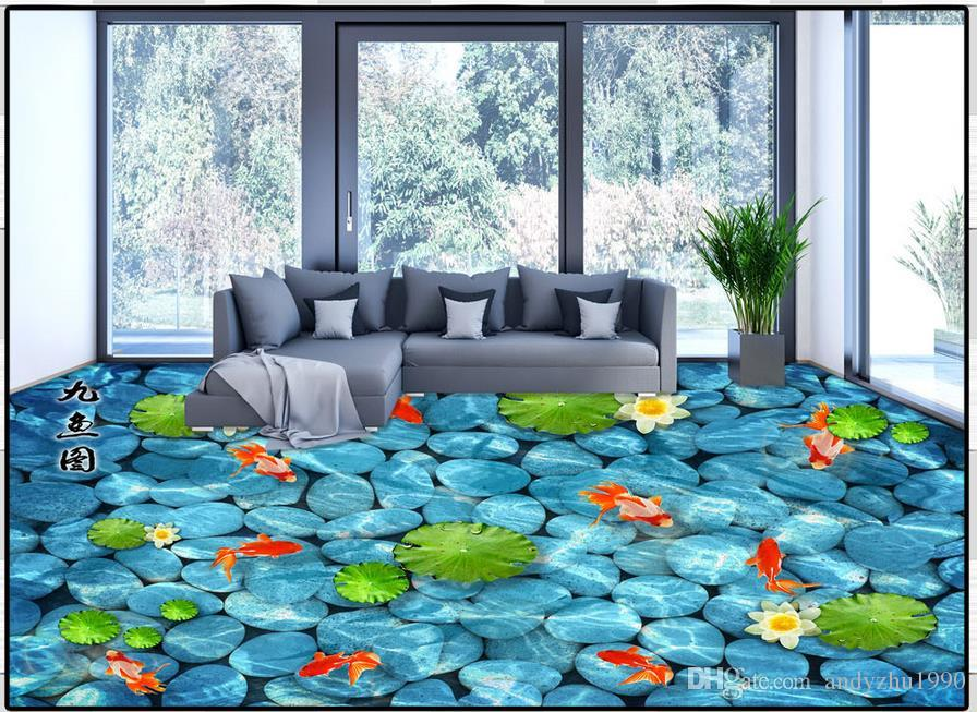Customized 3d Wallpaper 3d Flooring Wallpaper Murals 3 D Super Clear Floor Painting Lotus Pond Moonlight Lotus Nine Fish Background Wall Hd Wallpapers