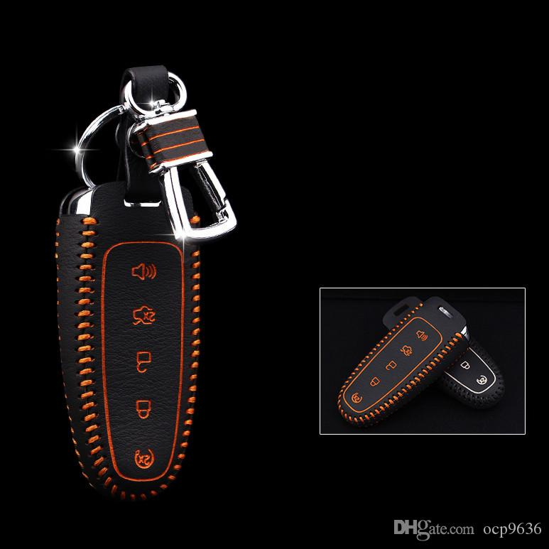 5 buttons for Ford Edge Genuine Leather Car Key bag/case wallet holder remote key cover