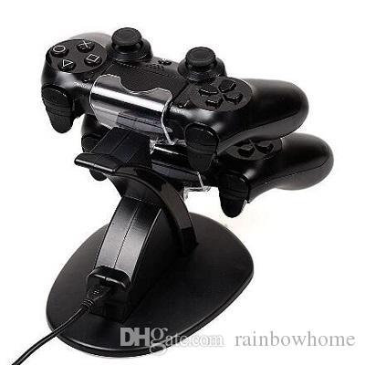 Caricatore doppio per caricabatterie Stand Dock per Playstation DualShock 4 PS4 XBOX ONE Controller Gamepad Cavo USB Indicatore luminoso LED blu