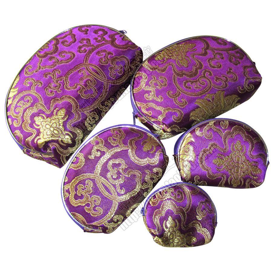 Günstige helle beste Frauen 5 Größe Coin Purse Sets Silk Gewebe gedruckt Reißverschluss kosmetischer Speicher-Beutel-Verfassungs-Verpackung Kasten Großhandel