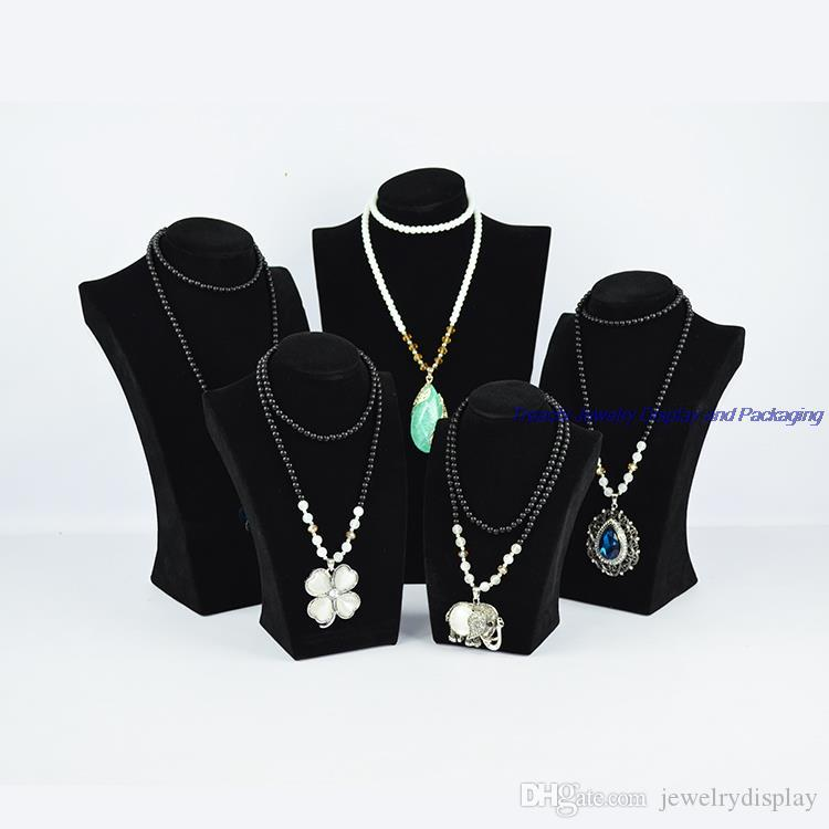 Free Shipping Black Velvet Presentoir Collier Jewelry Bracelet Stand Necklace Holder Mannequin Hanger for Cabinet Showcase 34CM height