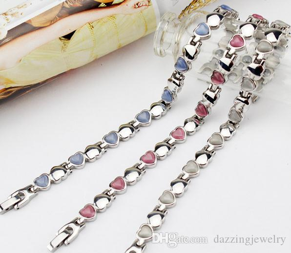 2016 Heart shape health bracelet for girl women best friend friendship magnetic energy bracelets with red white blue opal stones