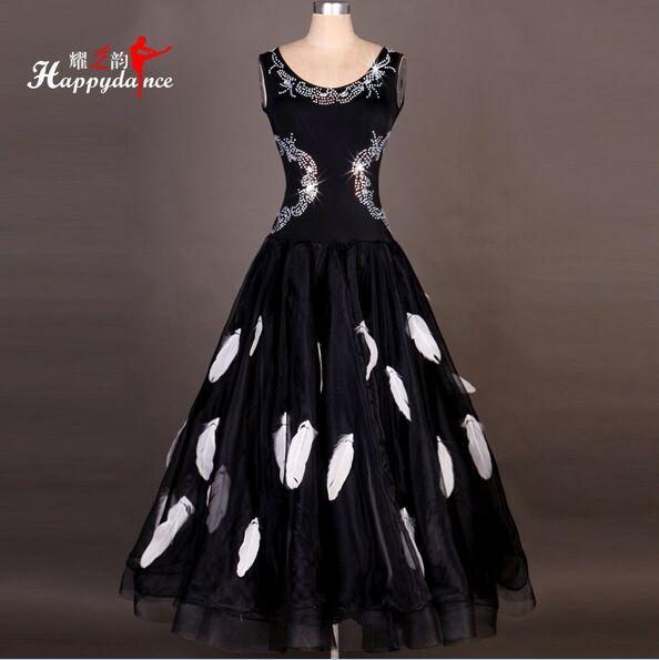 Siyah Custom Made Yüksek Kalite Rhinestone Balo Salonu Dans Elbise Bayan Elbise Balo Salonu Standart Dans Kadın Viyana Vals Elbise Giyim