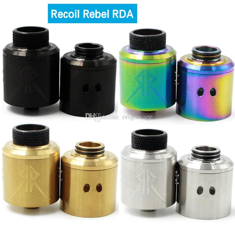 The Recoil Rebel RDA Atomizer With Extra Cap 25mm PEEK Insulators 4 Colors DHL Free Shipping
