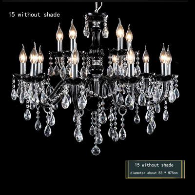 modern luxury Bar cafe light crystal chandelier Black 15/12/10/8/6 LED candle lamp living room lamp ceiling lighting fixture