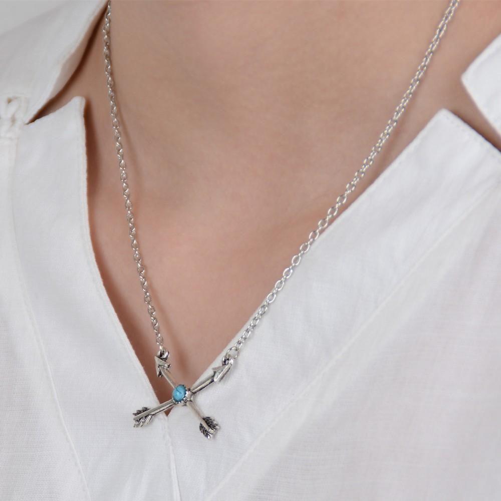 Anhänger Halsketten Mode Frauen Vintage Antikes Silber Überzogene Kreuzpfeile Schlüsselbein Kette Halsketten Schmuck Großhandel SN822