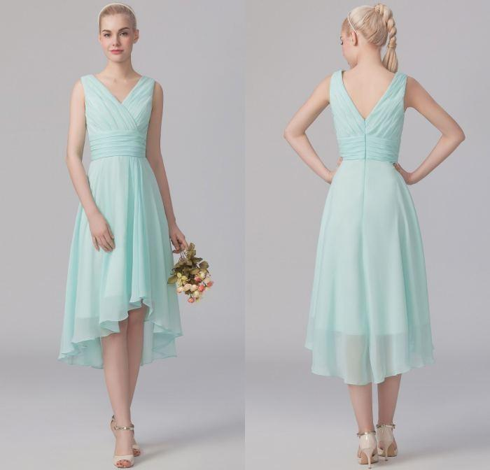 Cheap Mint Green Bridesmaid Dresses Short Plus Size Chiffon Sheer V ...
