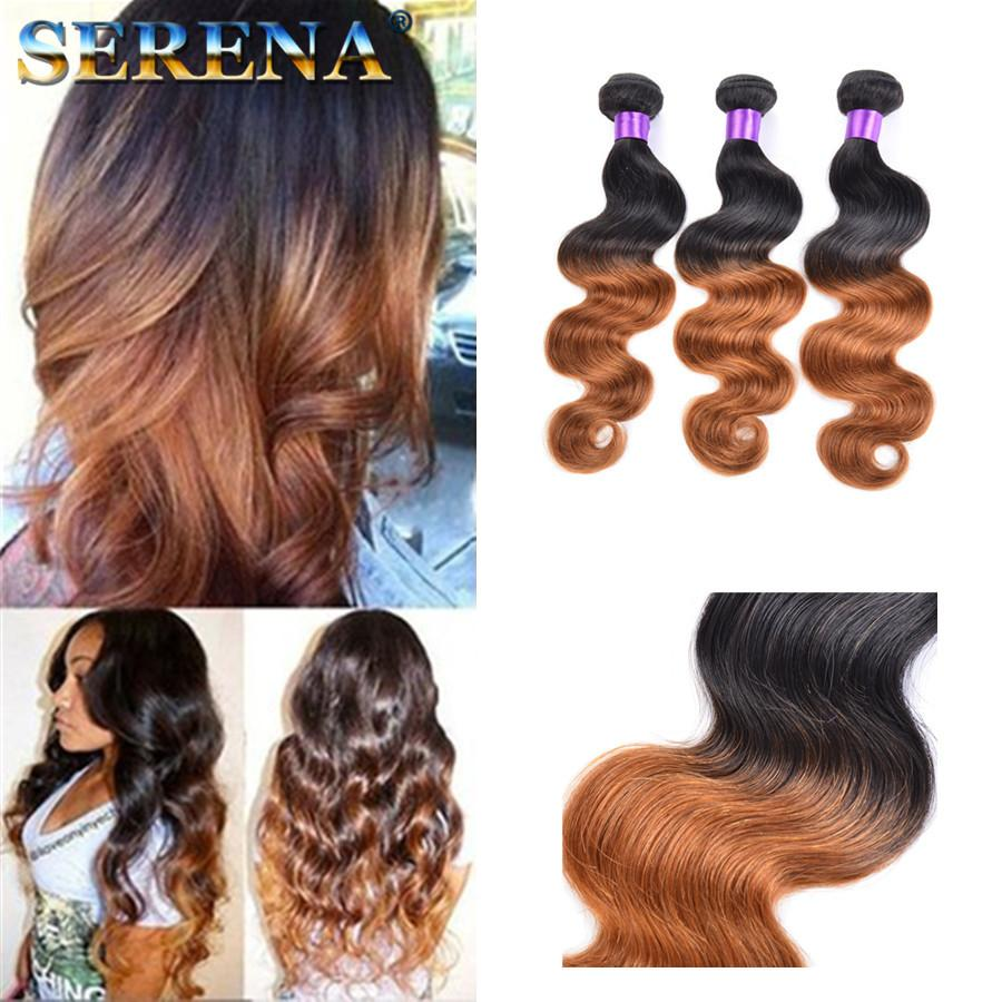 Ombre Hairs 10 30 Brazilian Human Hair Extensions Ombre Dip Dye Two Tone T 1b 30 Hair Weave Weft Body Wave Cheap Hair Extensions Best Hair Weaves Best Human Hair For Weaving From