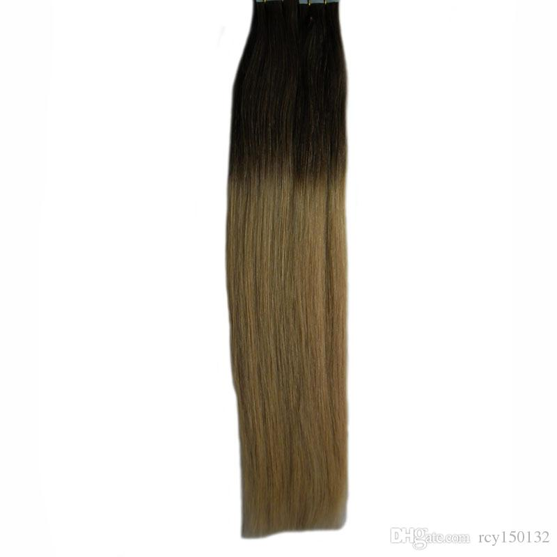 T1B/613 blonde two tone ombre brazilian virgin hair Straight tape in human hair extensions 100g 40pcs hair extension