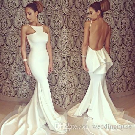 Elegant 2020 Русалка Пром платье Jewel шея рукава Sexy Backless рюши белых вечера партия знаменитость Pageant платье сшитого