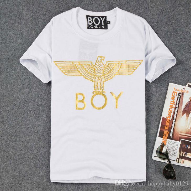 Europa Tide marca BOY LONDON T-shirt hombres y mujeres modelos de pareja Letras de águila dorada de manga corta Bigbang