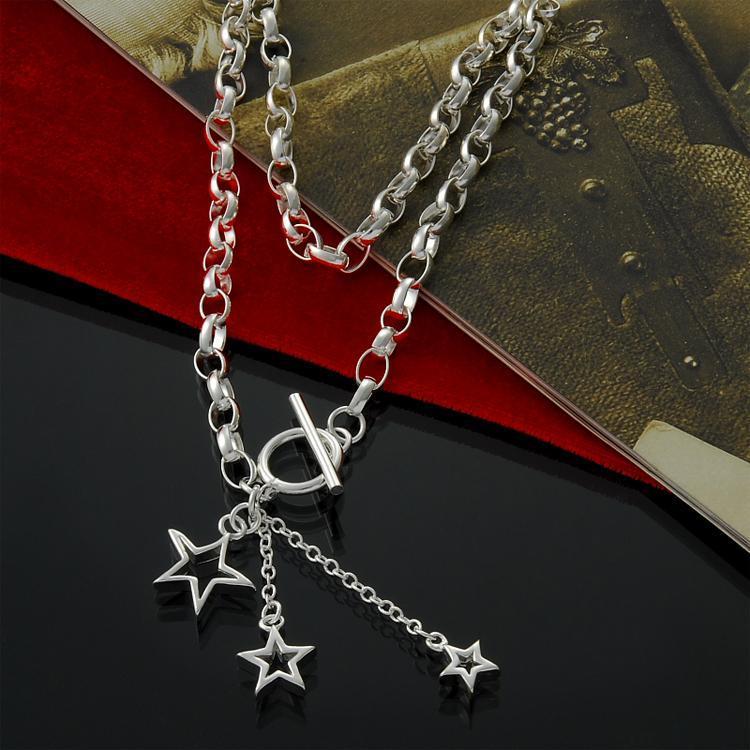 Directo de fábrica al por mayor de plata de ley 925 A tres collar colgante Estrella Collar de plata de moda