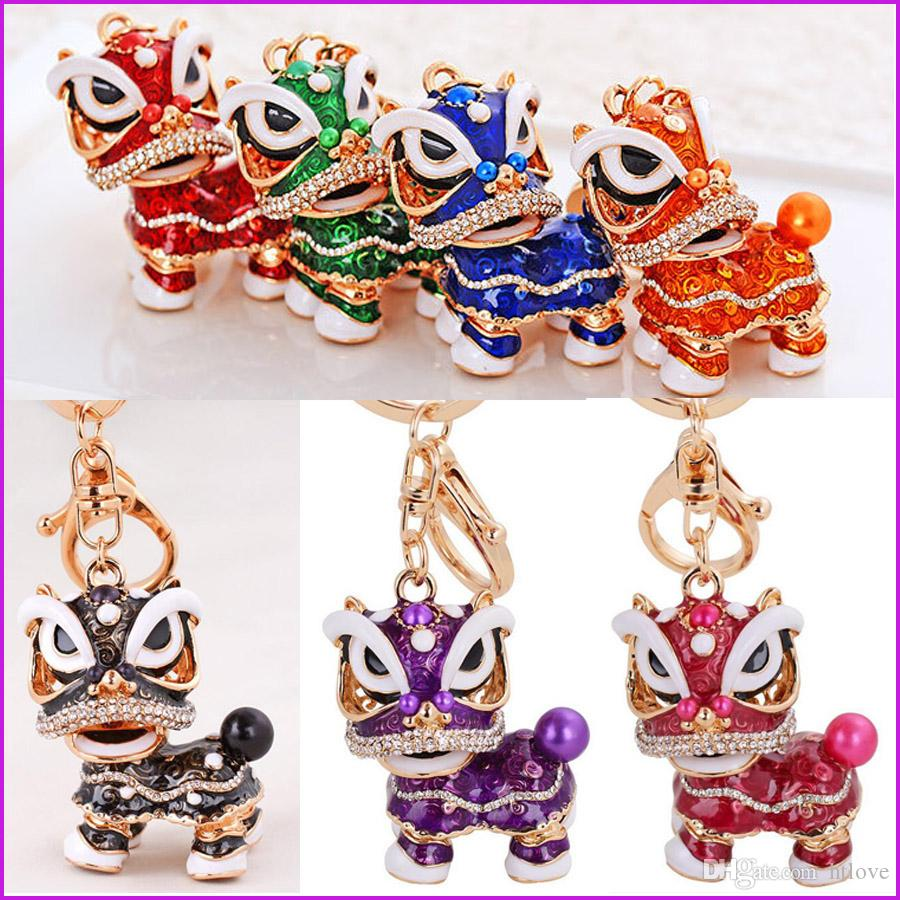 Cool Fashion Chinese Dancing Lion Keychain Car Pendant Bag Accessory