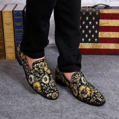 뜨거운 판매 Mens 패션 디자이너 블랙 Nubuck 가죽 신발 노란 꽃에 슬리퍼 로퍼 캐주얼 신발 남자에 대 한
