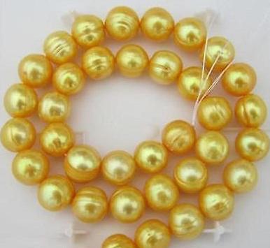 Nice barroco 10-11mm naturais mares do sul colar de pérolas de ouro 18 polegadas 14 K fecho de ouro