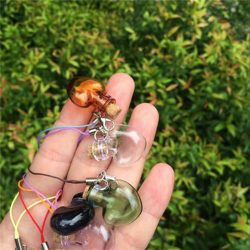 Glass Heart Pendants Mini Bottles Key Chains Lobster Clasp Cute Glass Love Hearts Pendants For Bracelets Mixed Colors (6)
