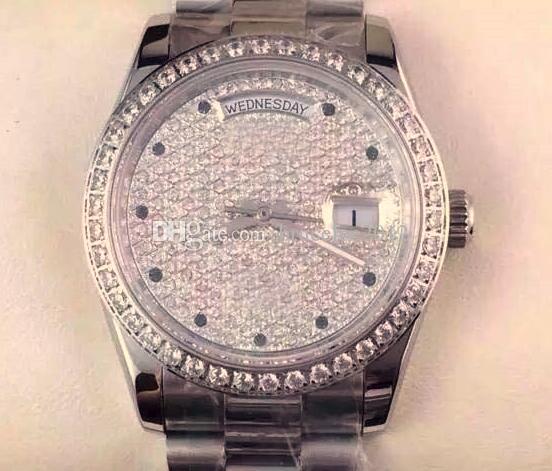 Najlepszy prezent Moda Ze Stali Nierdzewnej Dnia Data Prezydent Diament Bezel Diamenty Twarz Męskie Zegarek Mechaniczny Automatyczny Mężczyźni Luxury Sport Wristwatch