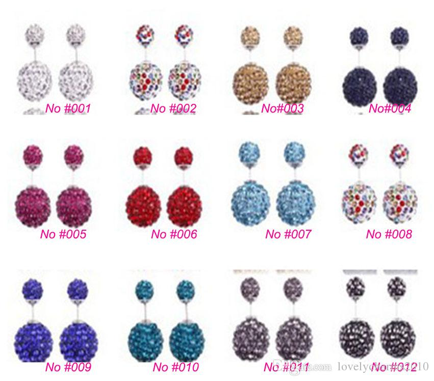 High quality 925 Sterling Silver Double sided Shambala Ball Stud Earrings Fashion Jewelry Diamond Crystal Disco Beads Earings Free Shipping
