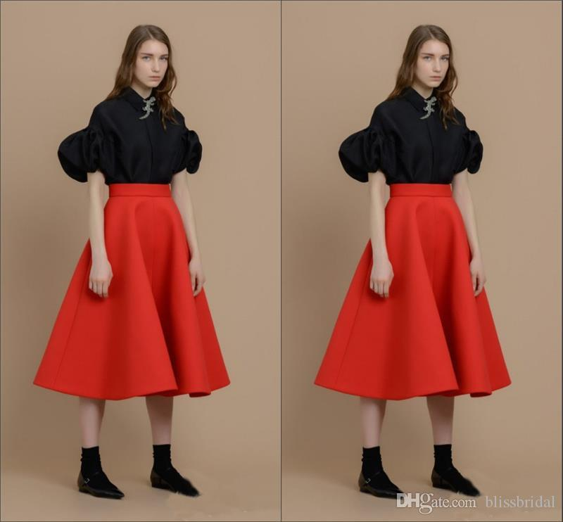 Red Color Sexy Satin Girls Skirts Knee-length Newest Skirts for Girls Custom Made Ruffles Empire A-line Skirts Real Image