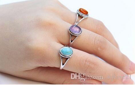 2016 mode antik silver ring, naturlig turkos ring, naturlig agat röd lila sten ring för kvinnor, en enda försäljning