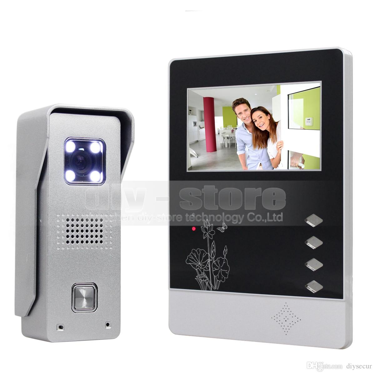 DIYSECUR Video Citofono Citofono da 4.3 pollici TFT Display LCD a colori in lega di alluminio CCD campanello LED a colori visione notturna