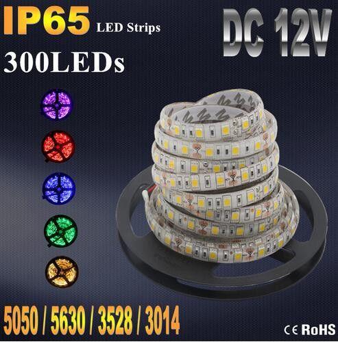 IP20 IP65 Impermeabile RGB LED Strip flessibile Luci DC12V SMD 5050 5630 3528 3014 300LED 5M Lampada LED Light Nastro Ribbon Lamp