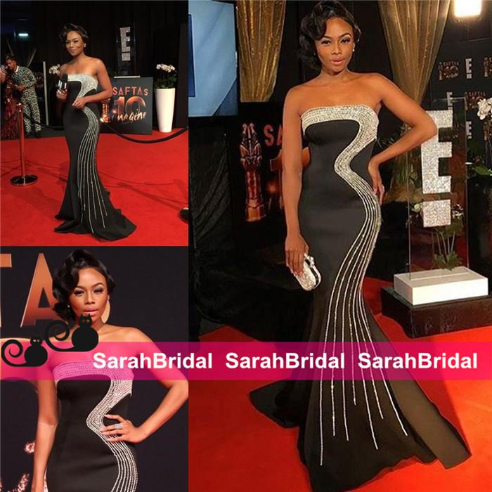 Classic Beaded Prom Dresses Bonang Matheba South African TV Host Statement Pageant Celebrity Evening Gowns for Women