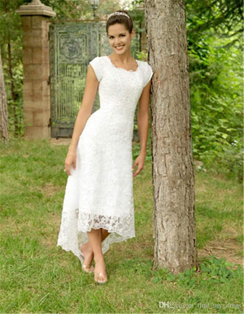 New Charming High Low Lace Wedding Dresses Short Sleeve Square Neck Short Front Long Back Simple Bridal Gowns Custom Made Vintage Wedding Dress Shop Wedding Bride Dress From Find My Dress 81 41 Dhgate Com