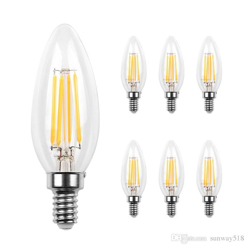 Led Candelabra Bulb Base COB LED Filament Flame Vintage Candle Light Bulb  For Home,Kitchen,Dining Room,Bedroom,Living Room,2W 4W 6W Best Led Light ...