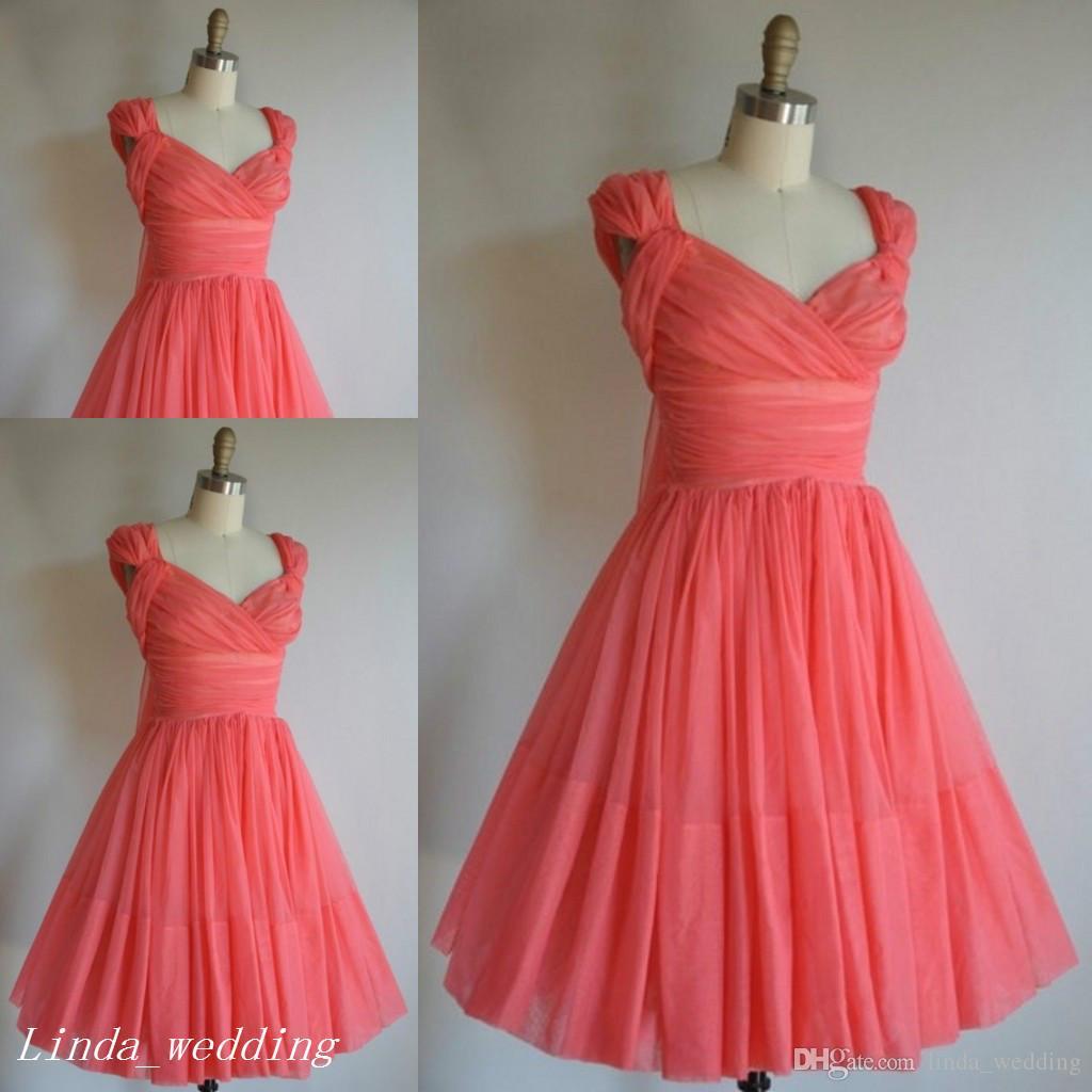 großhandel einfache ziemlich kurze koralle brautjungfer kleid eine linie  chiffon trauzeugin kleid für hochzeit kleid von linda_wedding, 53,63 € auf