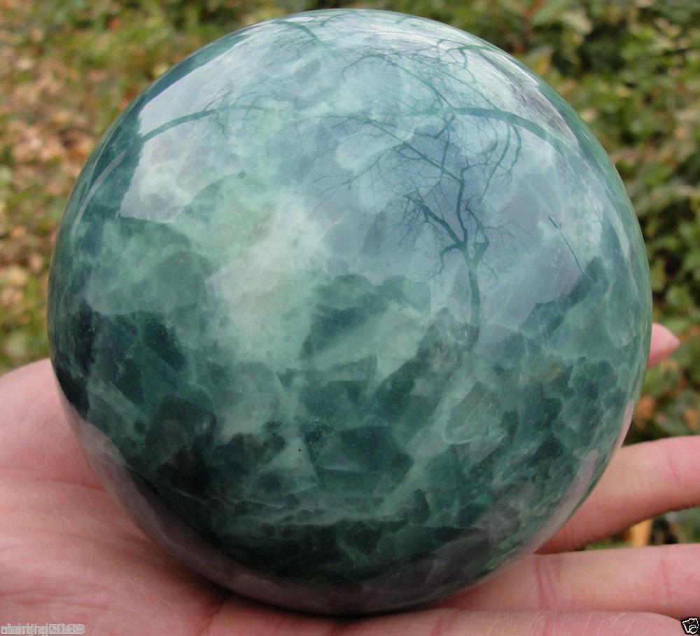 65mm brilho no escuro natural verde fluorita magia cristal cura bola + suporte @
