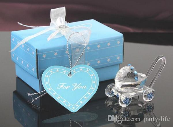 Blue Crystal Baby Carriage Clear Paperweight Desk Decor Wedding