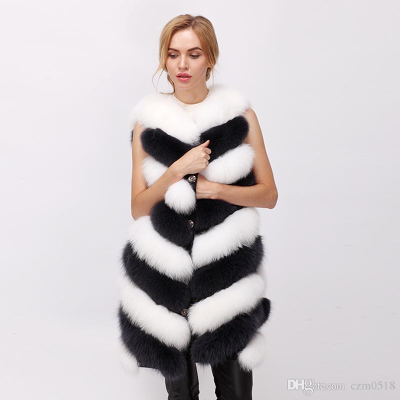 free shipping 2017 winter new real fur vest fox fur vest natural arctic fox vest White fox 80cm