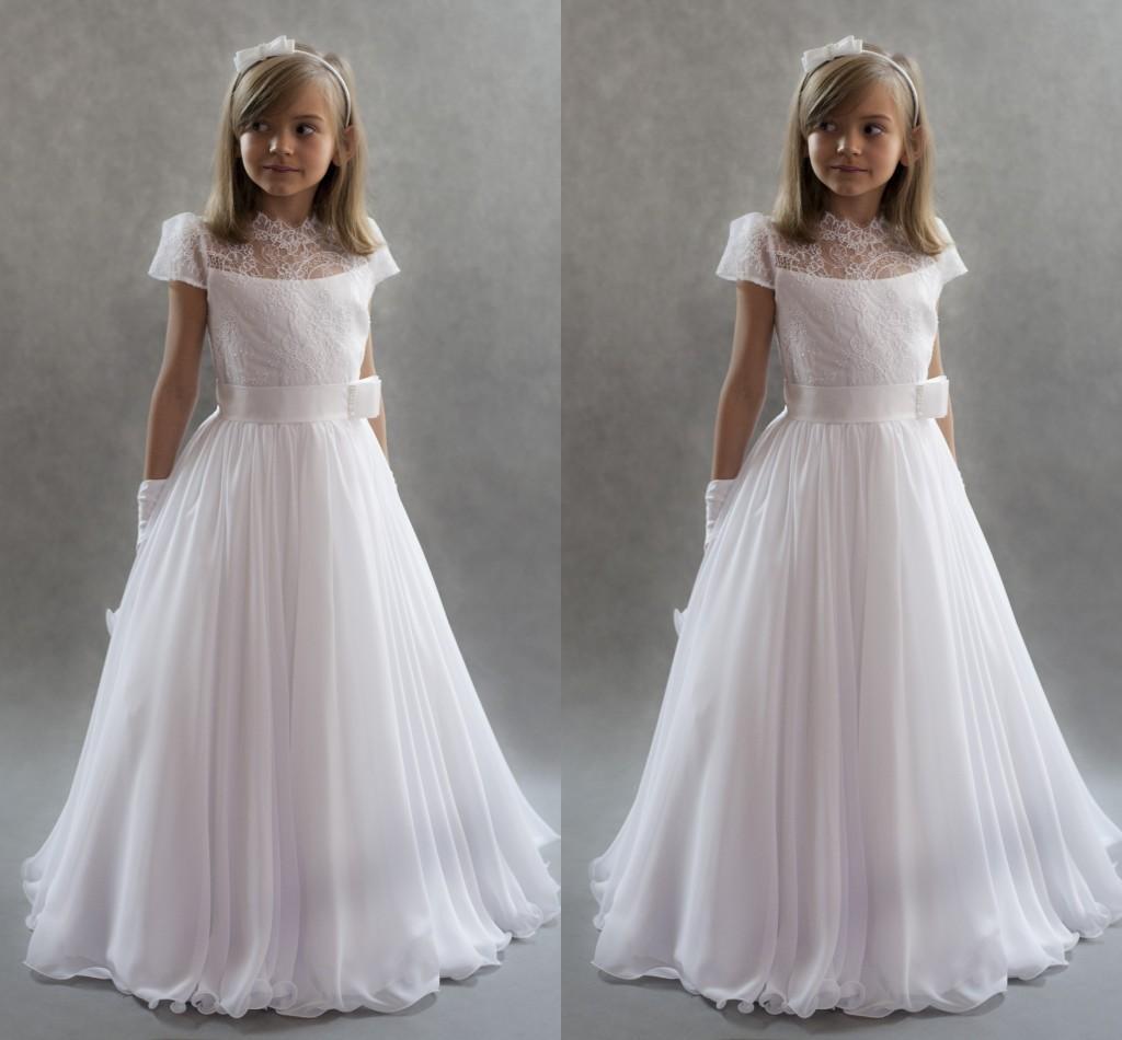 Principessa bianca Flower Girls Dresses For Weddings 2017 Collo alto maniche in pizzo Chiffon Piano Lunghezza Abiti da prima comunione Kids Party Dre