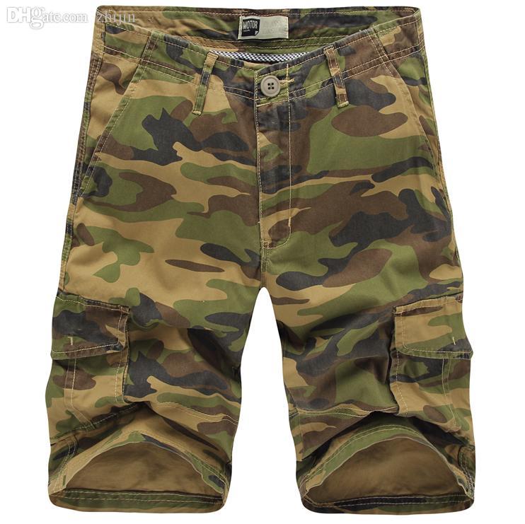Gros-2016 Hommes Camouflage Shorts Nouvel Été Designer De Mode Genou Longueur Cargo Shorts Pour Hommes Taille 29-38 T0016