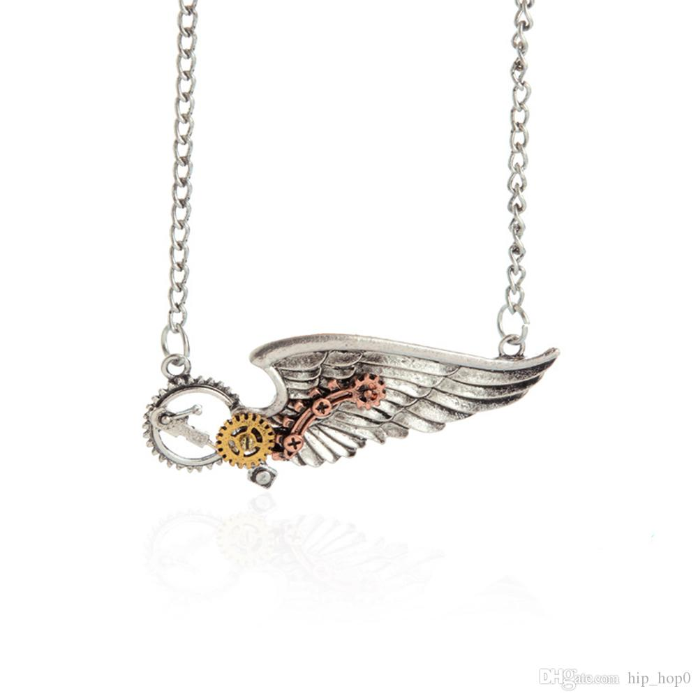 Mecánica Gear Angle Wing Pendant Necklace Vintage Punk Wing Chaims Necklace Joyería de mujer y hombre Petty Gifts for Girls