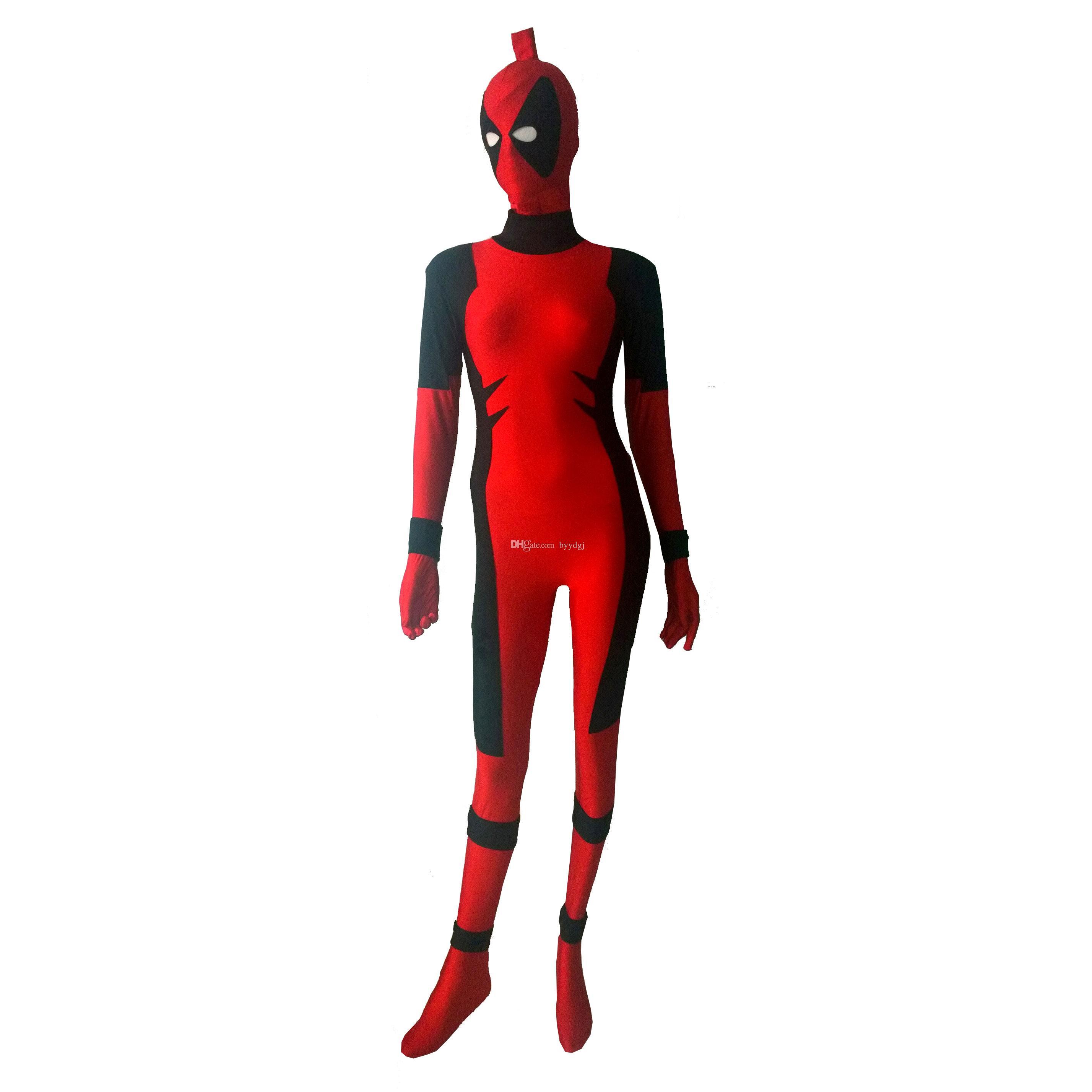 Red Killer Queen Spandex Lycra Costume Prelude to Deadpool Corps Halloween Party Cosplay Zentai Suit