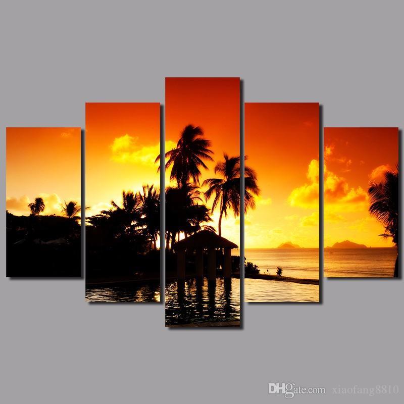 5pcs pôr do sol de ouro parede decoração da árvore seascape coco de Gravuras montanhas paisagem pintura da lona sala de estar sem moldura
