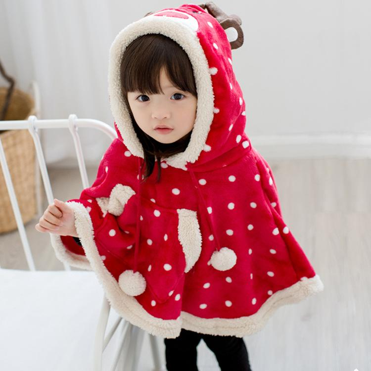 Baby Girl Outwear Christmas Poncho Spring Winter Festival Christmas Girls Red Dots alce Cloak Coat