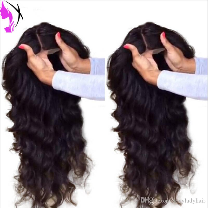 New Wholesale brazilian body wave wigs #1B Black Synthetic Glueless full Lace Front Wig with baby hair