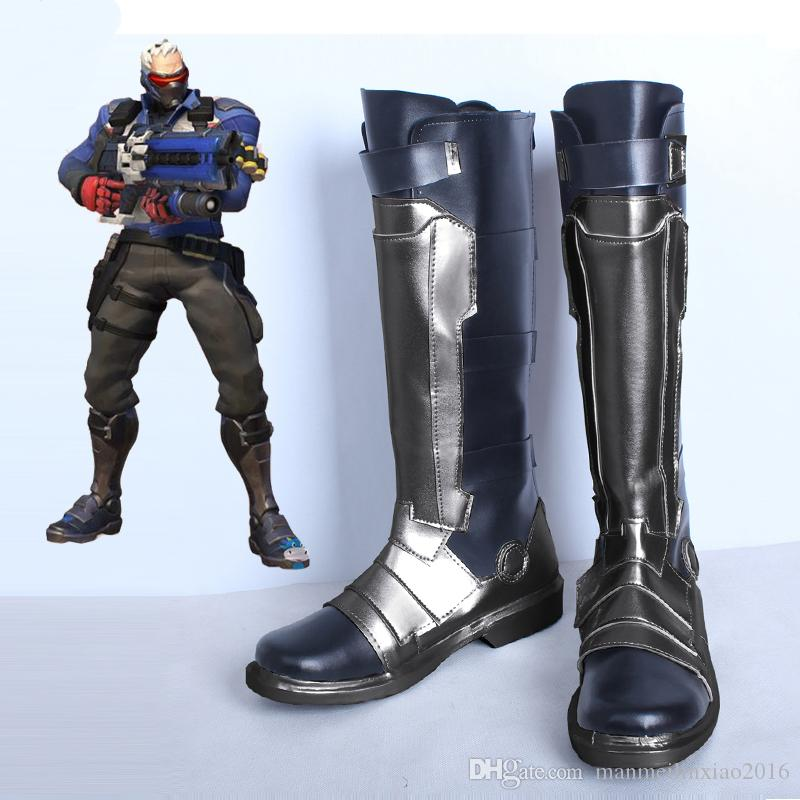 NEW ARRIVAL COS Game Soldier 76 Cosplay Shoes Boots High Quality Customize For Unisex Any Size Free Shipping