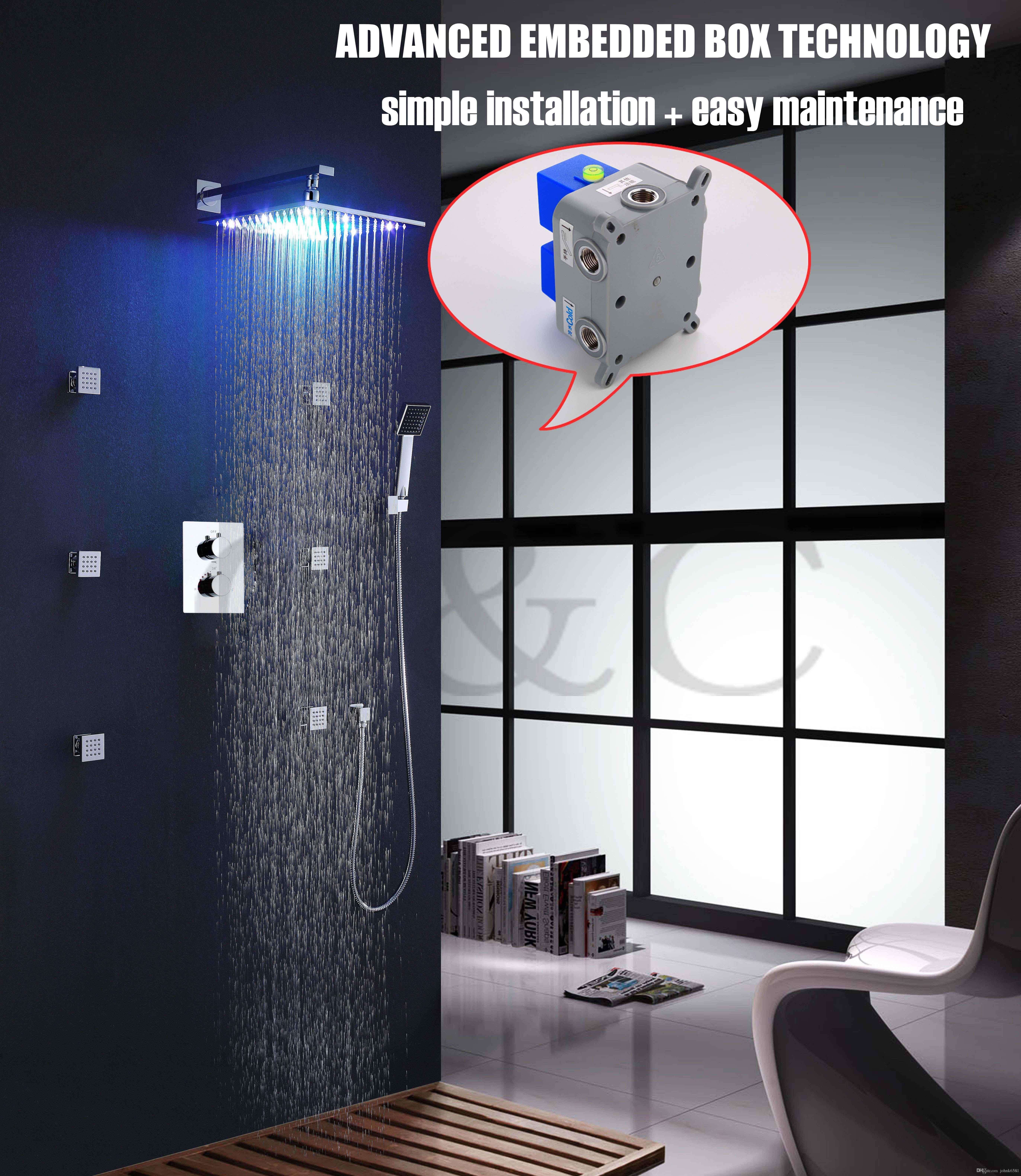 Installazione facile con la scatola incorporata 12 pollici LED 7 colori soffione doccia a pioggia termostatico Set rubinetto doccia 002T-12-2C