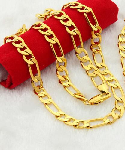 الجملة - 18K الذهب معبأ قلادة فيجارو سلسلة رجل بنين سلسلة قلادة JewelryGN26 نوعية جيدة شحن مجاني