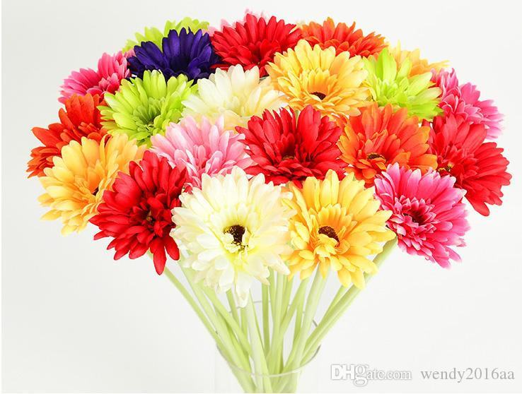 10pcs/lot Artificial Flower With 7 Colors Option Gerbera Fake Silk Flowers Colorful for Birthday wedding Party Home Decoration