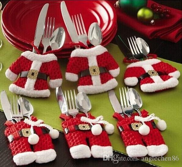 12pcs Santa Suit Father Christmas Costume Cutlery Tableware Holder Fork Spoon Knife Bag Cover Decor Suit Cover Table Decorations Wholesale