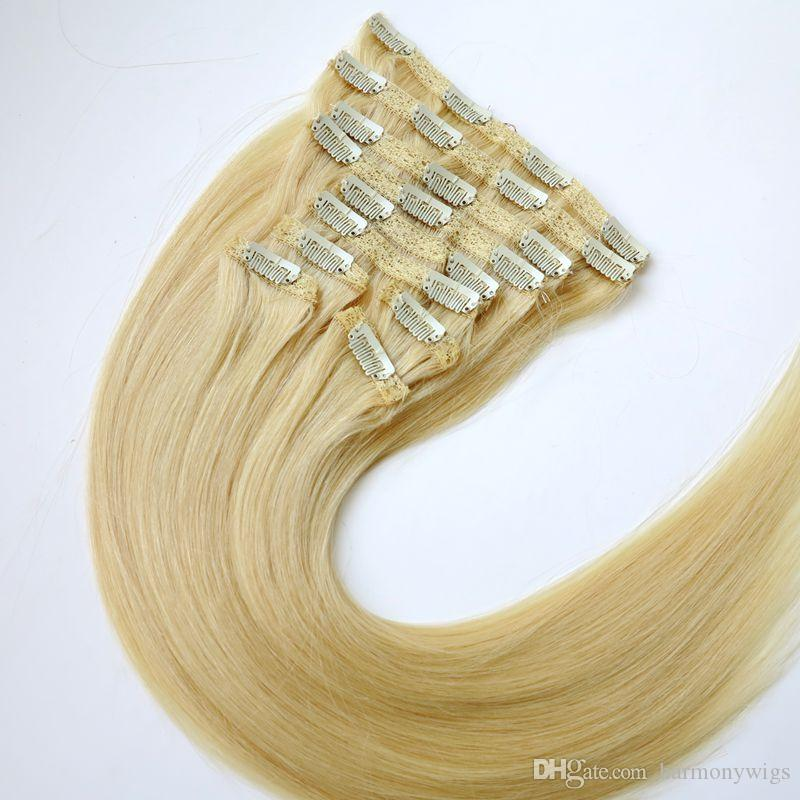 120g 10pcs/1set clip in on hair extensions Double Drown #613/Bleach Blonde 20 22inch Straight Brazilian human hair extensions