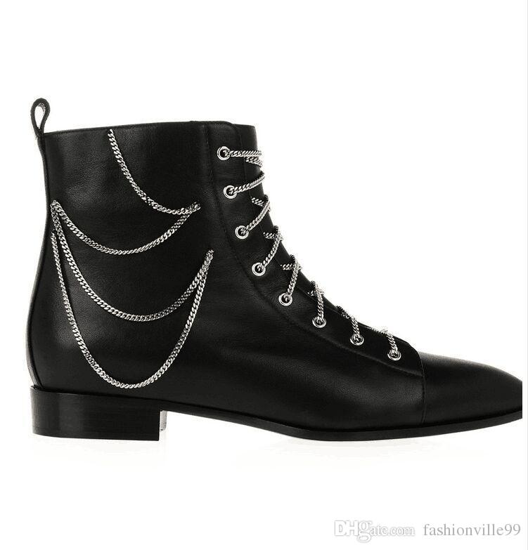 NEW@ b058 black genuine leather chain short pointy flat boot gothic tied