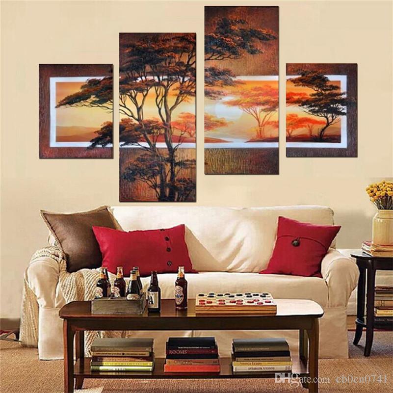Handgemalte 4 teile / satz moderne landschaftsölgemälde wanddekoration kunst baum bilder für wohnzimmer zu hause geschenk